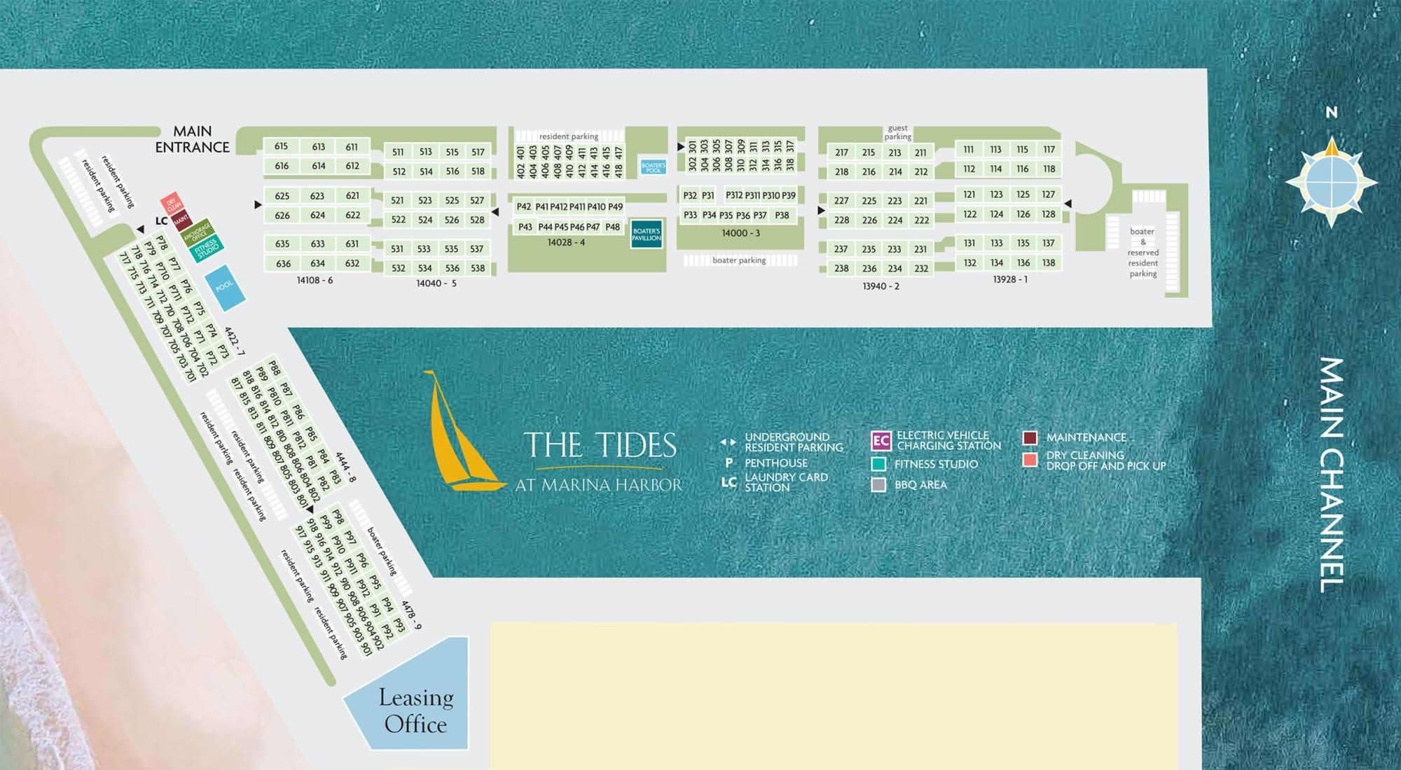 Site plan for The Tides at Marina Harbor in Marina Del Rey, California