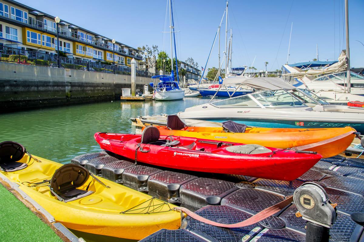 Complimentary kayaks and bicycles at The Villa at Marina Harbor in Marina del Rey, California