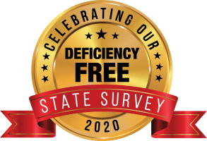 Deficiency free state survey badge for Garden Place Red Bud in Red Bud, Illinois