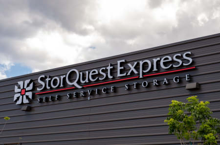 Branding and signage in front of StorQuest Express - Self Service Storage in West Sacramento, California