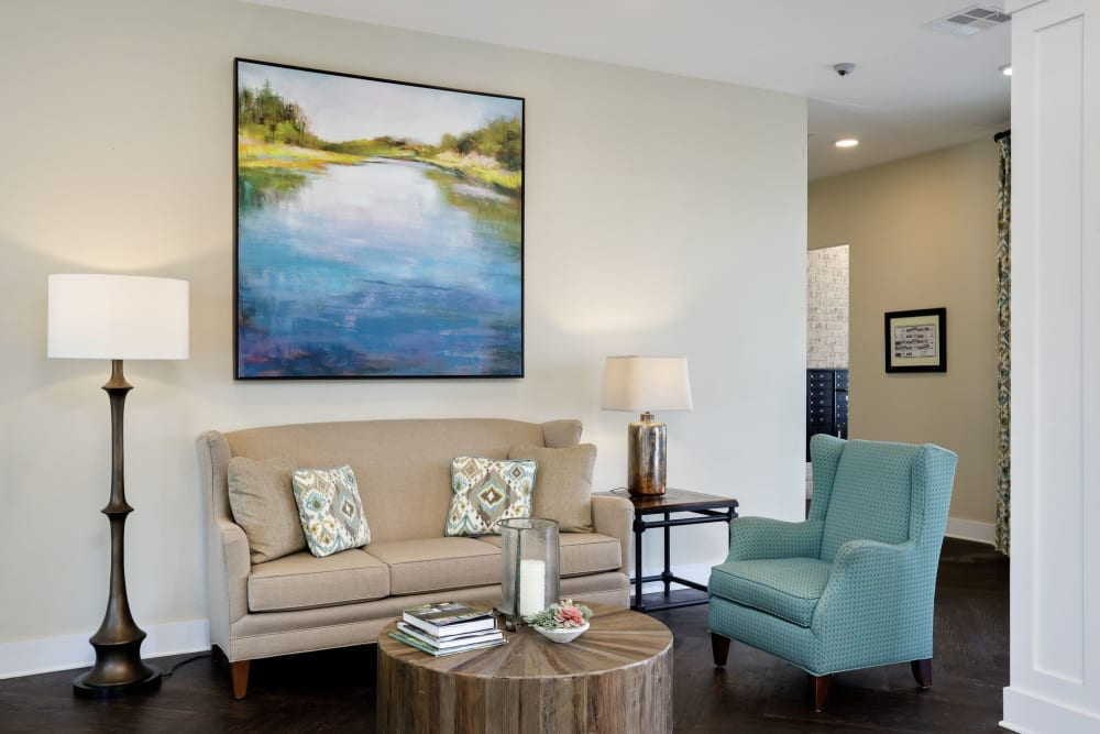 Living Room at The Claiborne at Shoe Creek in Central, Louisiana.