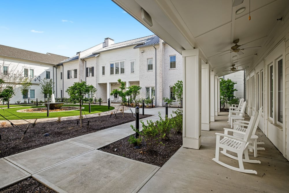 Courtyard and patio at The Claiborne at Gulfport Highlands in Gulfport, Mississippi.
