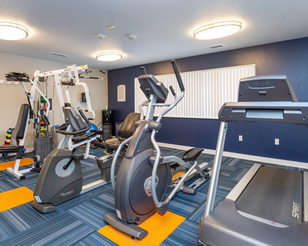 Fitness center with treadmills at Stone Crest in Mt Pleasant, Michigan