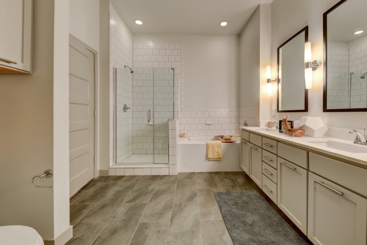 Beautiful master bathroom in a model home at Agave in San Antonio, Texas