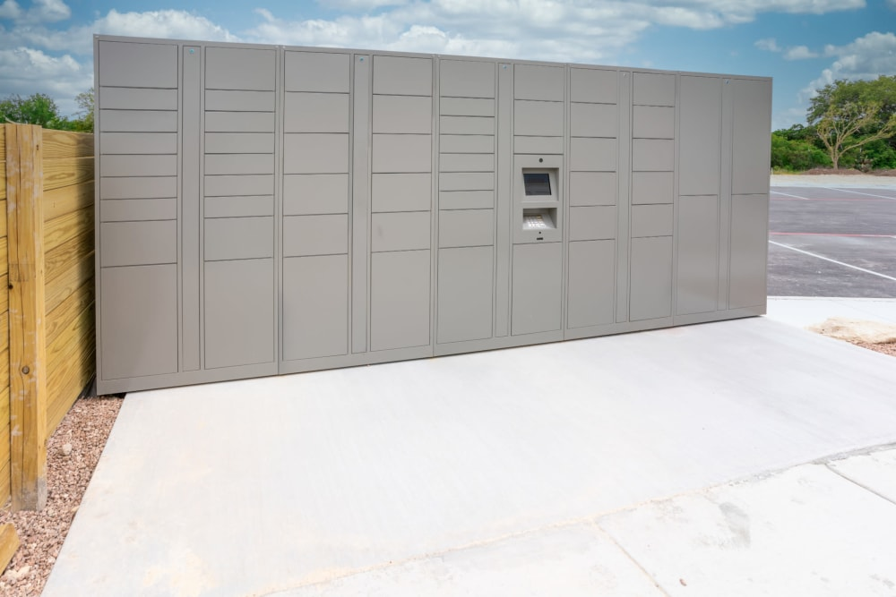 Package lockers at Exeter Place in San Antonio, Texas