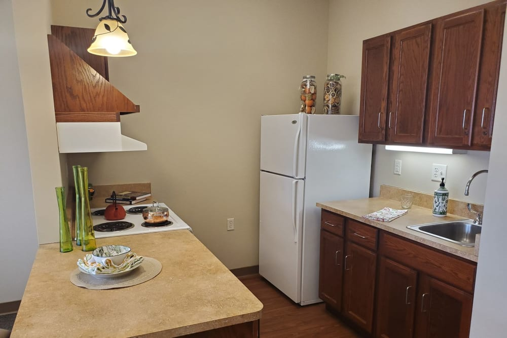 Full kitchens available in apartments at Milestone Senior Living in Eau Claire, Wisconsin.