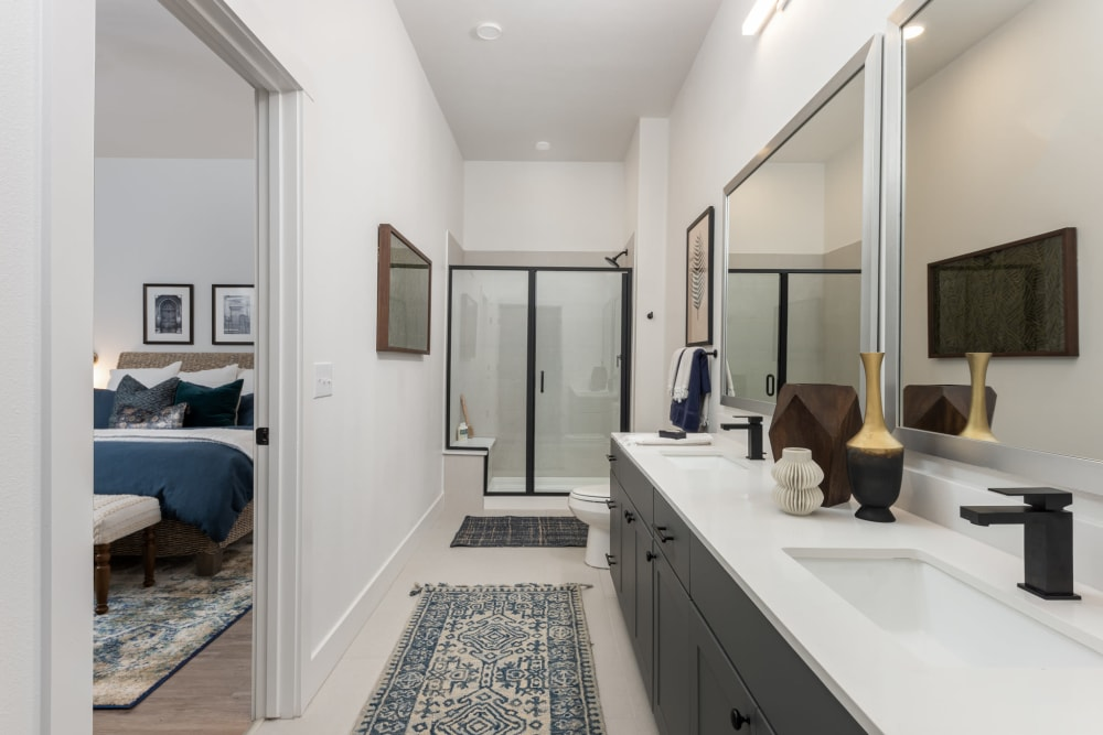 Marble counter top in a modern bathroom at 4600 Ross in Dallas, Texas