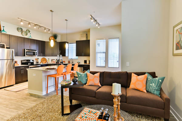 Well-decorated open-concept floor plan in model home at The Hyve in Tempe, Arizona