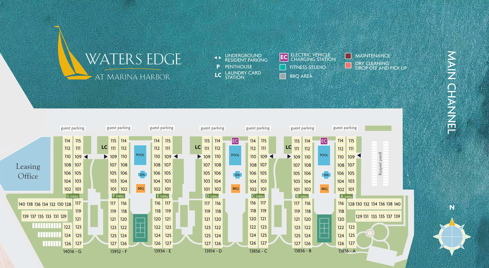 Site plan for Waters Edge at Marina Harbor in Marina Del Rey, California