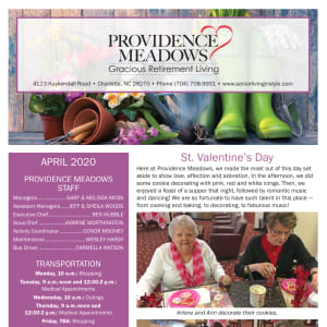 April Providence Meadows Gracious Retirement Living Newsletter