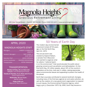 April Magnolia Heights Gracious Retirement Living Newsletter
