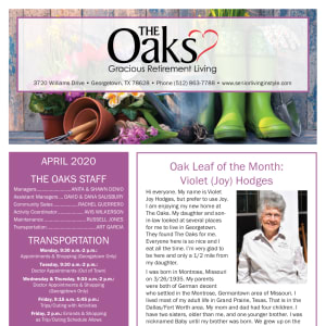 April The Oaks Gracious Retirement Living Newsletter