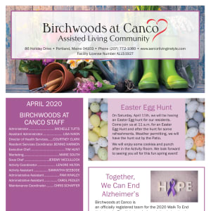 April Birchwoods at Canco Assisted Living Newsletter