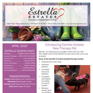 April Estrella Estates Gracious Retirement Living Newsletter