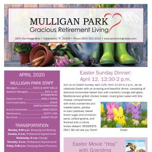 April Mulligan Park Gracious Retirement Living Newsletter