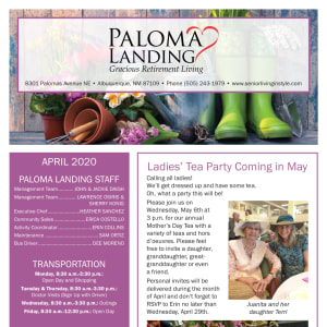 April Paloma Landing Retirement Community Newsletter