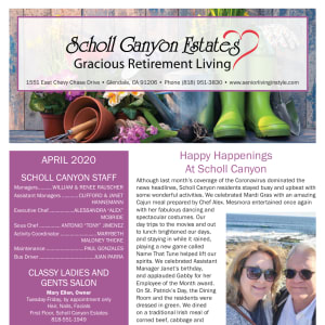 April Scholl Canyon Estates Newsletter