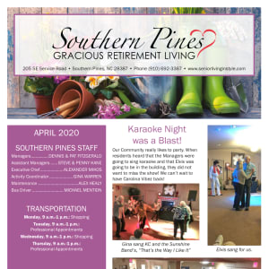 April Southern Pines Gracious Retirement Living Newsletter