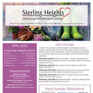 April Sterling Heights Gracious Retirement Living Newsletter