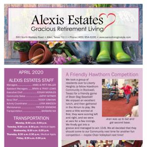 April newsletter at Alexis Estates Gracious Retirement Living in Allen, Texas