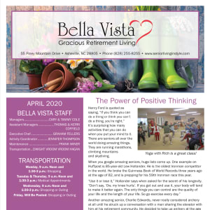 April newsletter at BellaVista Gracious Retirement Living in Asheville, North Carolina