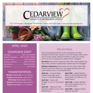 April Cedarview Gracious Retirement Living Newsletter