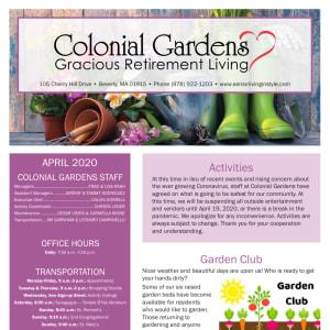April Colonial Gardens Gracious Retirement Living Newsletter