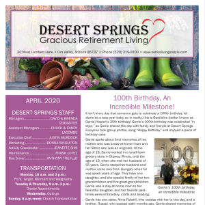 April Desert Springs Gracious Retirement Living Newsletter