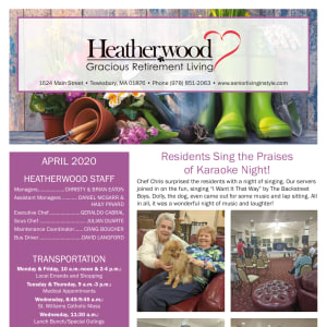 April Heatherwood Gracious Retirement Living newsletter