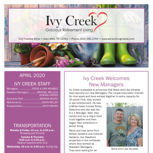 April Ivy Creek Gracious Retirement Living Newsletter
