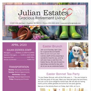 April Julian Estates Gracious Retirement Living Newsletter