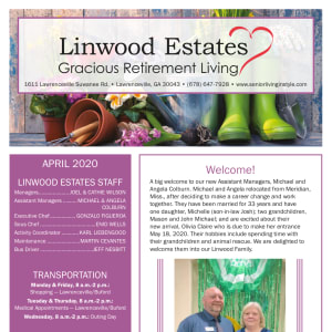 April Linwood Estates Gracious Retirement Living Newsletter