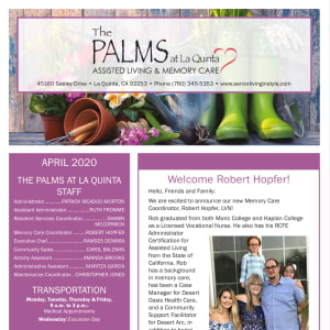 April The Palms at La Quinta Assisted Living and Memory Care Newsletter