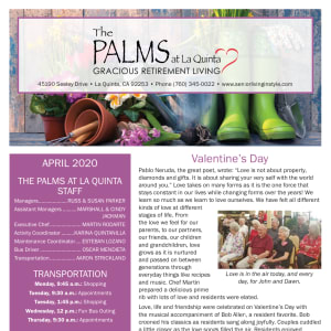 April The Palms at LaQuinta Gracious Retirement Living Newsletter
