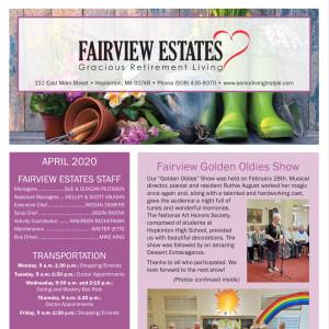 April Fairview Estates Gracious Retirement Living Newsletter