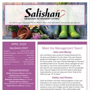 April Salishan Gracious Retirement Living Newsletter