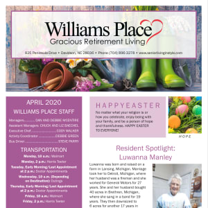 April Williams Place Gracious Retirement Living Newsletter