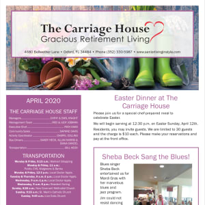 April The Carriage House Gracious Retirement Living Newsletter