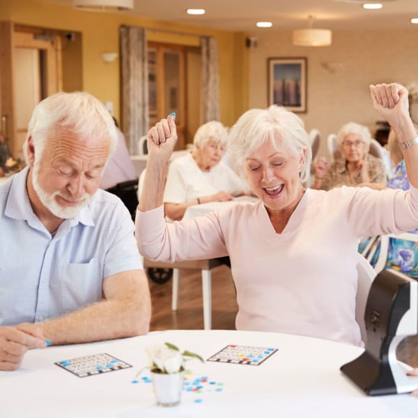 Residents playing bingo at Pacifica Senior Living Fresno in Fresno, California.
