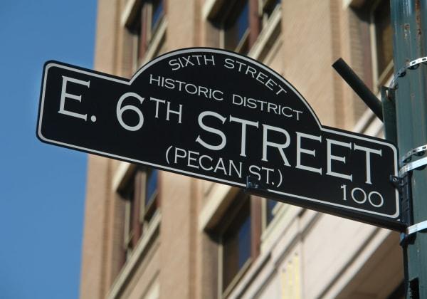 Street sign near Water Marq in Austin, Texas