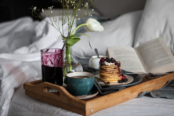 Breakfast in bed at StoneCrest Village in Halifax, Nova Scotia