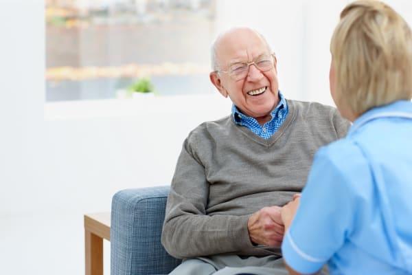 Residents enjoying talking to each other at Grand Plains in Pratt, Kansas