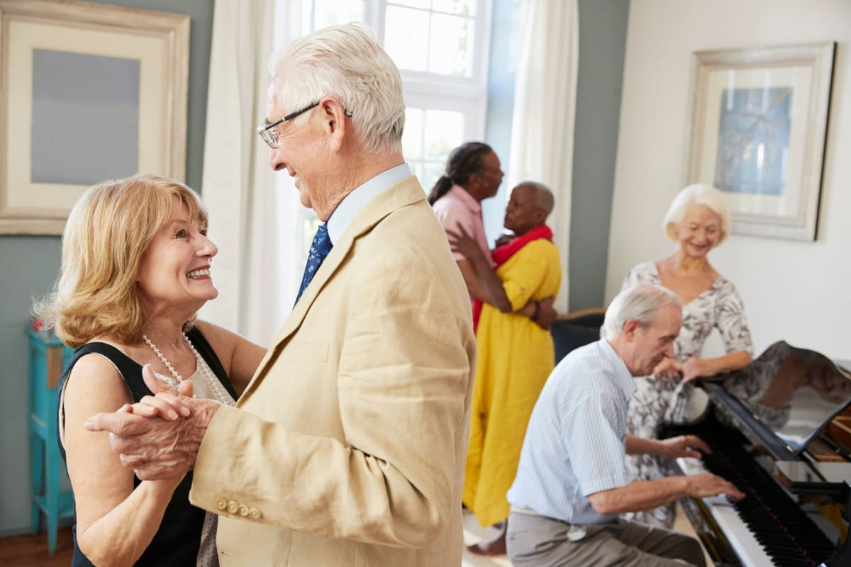 Residents dancing at The Claiborne at Shoe Creek in Baton Rouge, Louisiana.