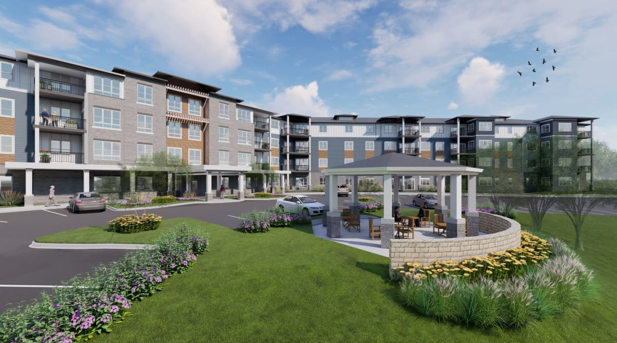Rendering of the exterior of Applewood Pointe of Apple Valley in Apple Valley, Minnesota