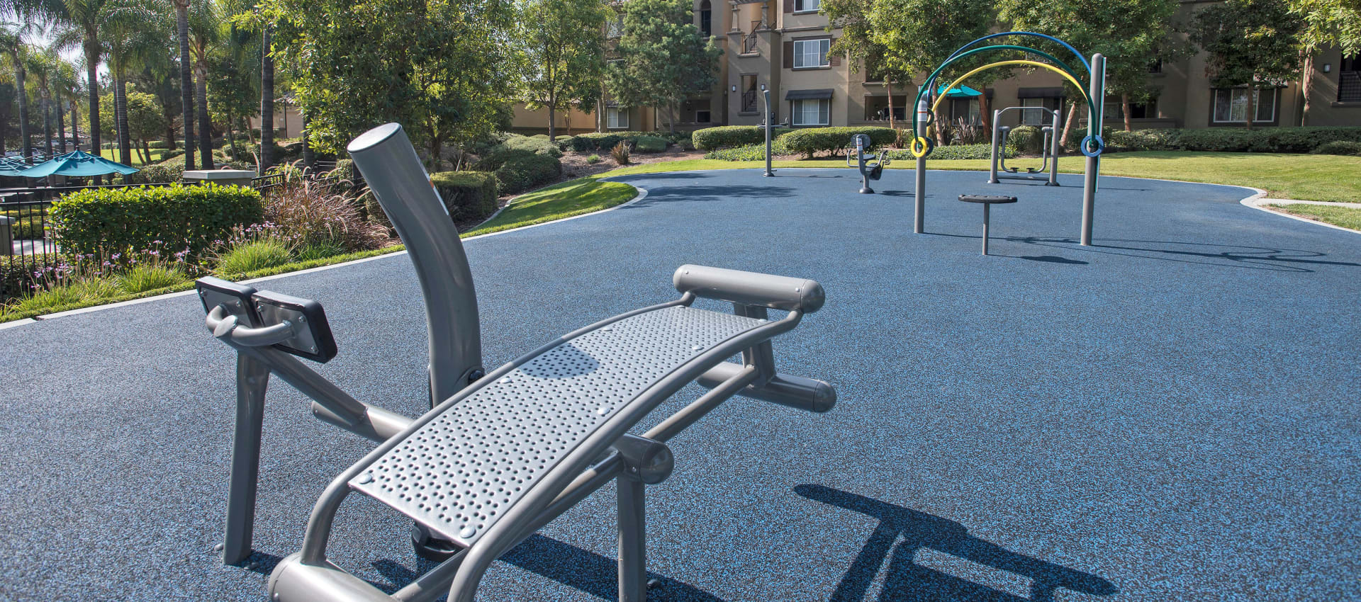 Outdoor Fitness Area at Esplanade Apartment Homes in Riverside, California