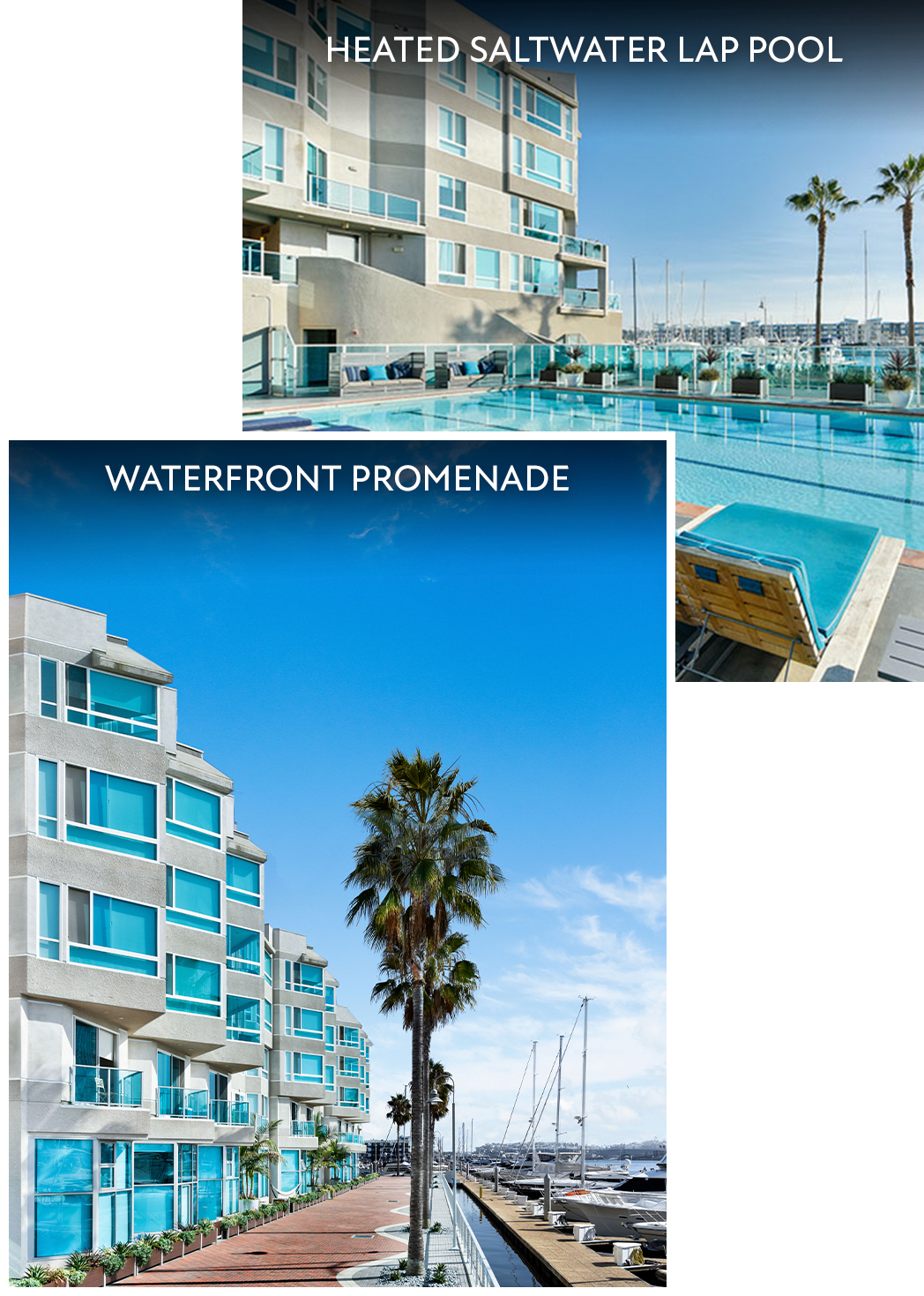 Collage with waterfront promenade and swimming pool views at Esprit Marina del Rey in Marina del Rey, California