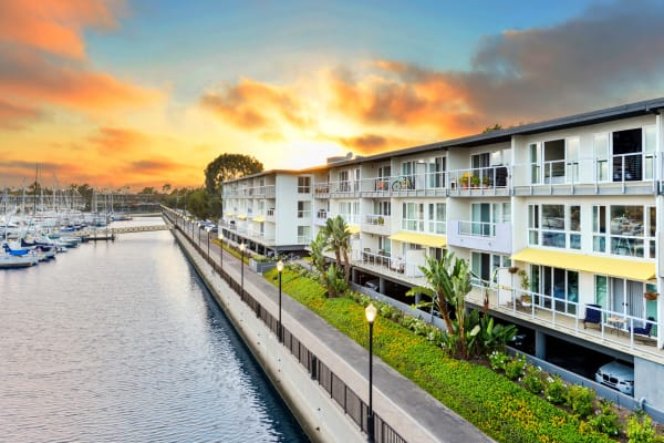 Sunset at our waterfront community at The Tides at Marina Harbor in Marina del Rey, California
