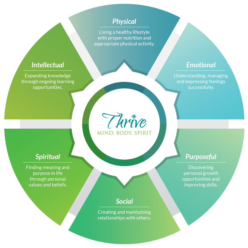 The six dimensions of wellness for Inspired Living Alpharetta in Alpharetta, Georgia