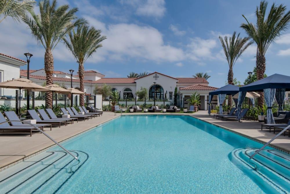 Spacious swimming pool at Montecito Apartments at Carlsbad in Carlsbad, California