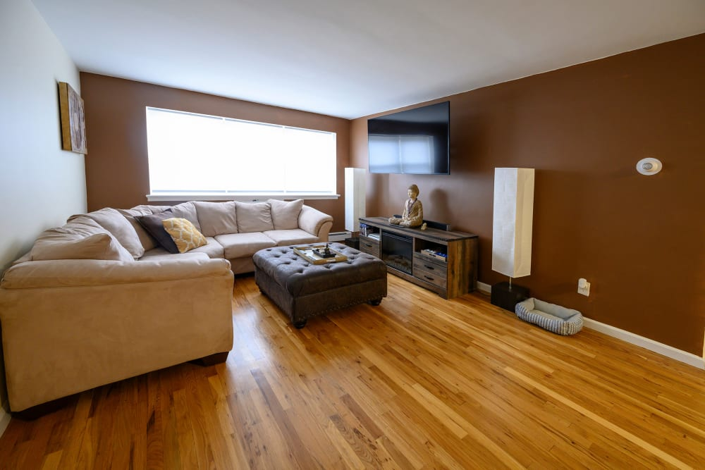 Living room with hardwood floors at The Central House in Ridgefield Park, New Jersey